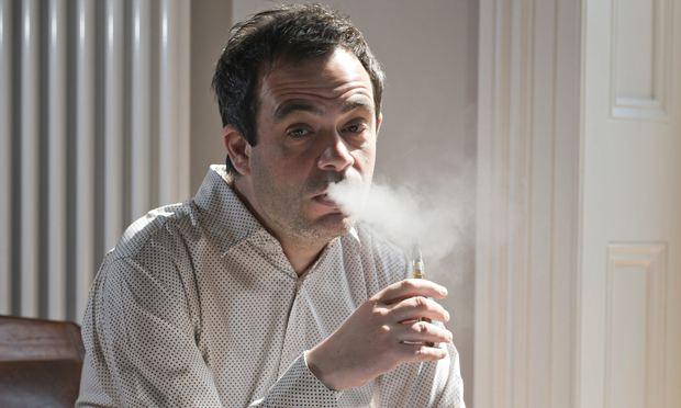 Alexis Petridis smoking his e-cigarette